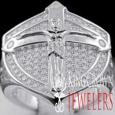 10K White Gold Over Real Silver Mens Jesus Crucifix Cross Ring Simu Diamond Band