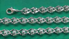 Collar de perlas 6,5mm ancho plateado 38cm hasta 100cm y Pulsera tobillo