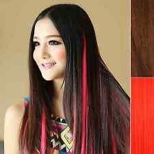 Haarverlängerung glatt 45 cm Clip in Extensions Haarteil bunte Strähnen ROT