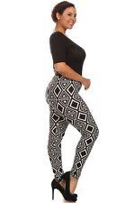 Womens Plus 1X/2X,3X/4X Black & White Tribal Print Elastic Waist Leggings!