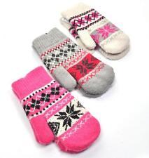 RETRO VTG STYLE Snowflake Mittens Gloves Pink Cream Grey BNWT NEW Xmas Gift