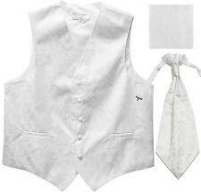 New Men's Paisley Tuxedo Vest Waistcoat & Ascot Cravat & Hankie Wedding White