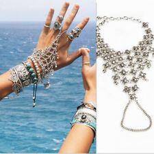 Boho Ethnic Silver Bracelet Bangle Finger Ring Harness Hand Chain Slave