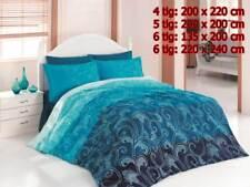 Bettwäsche Bettgarnitur Bettbezug 100% Baumwolle Kissen Decke EBRULI BLAU