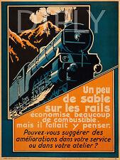 PLAQUE ALU DECO AFFICHE TRAIN LOCOMOTIVE RAIL RAILROAD VAPEUR ATELIER CHARBON