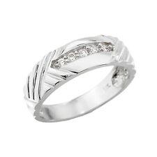 10k White Gold 0.13CT Diamond Ring 4.5MM Men Wedding Band