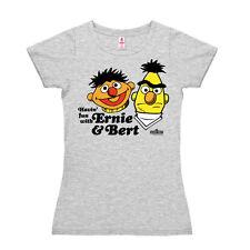TV: Barrio Sésamo - Epa y Blas - Divertiéndose T-Shirt Camiseta para mujer, gris