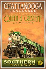 Chattanooga TN- QUEEN & CRESCENT LTD Poster Southern Railway Train Art Print 228