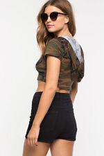 Brown Cropped HOODIE CAMO vest Camouflage crop top t-shirt cotton S M L
