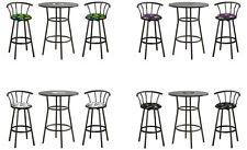 "NFL LOGO 28"" ROUND BLACK BAR TABLE SET-GLASS TOP OPTION & 2-29"" SWIVEL BARSTOOLS"