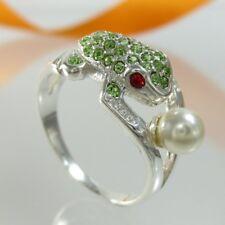 A663 Ring Frosch 925 Silber Schmuck Perle + Kristallsteine verschiedene Größen G