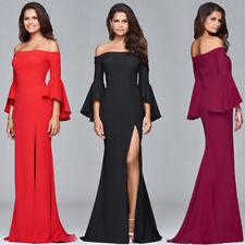 Sexy Women Off Shoulder Long Bell Sleeve Summer  Evening Party Formal Gown Dress