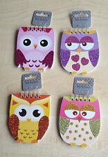 CHILDRENS GLITTER NOTEBOOK OWL DESIGN PARTY BAG FILLERS BIRTHDAYS GIFT ETC ETC