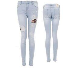 da donna aderente sdrucito STRAPPATO JEANS PERLA PERLINE FIORE Cut Out jeans