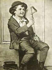 J.G. Brown Child Labor SHOE SHINE BOY w JUMPING JACK 1888 Vintage Print Matted
