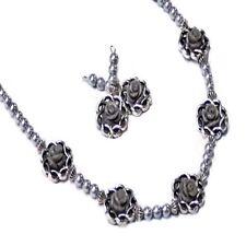 Necklace set Porcelain Grey rose silver pearl, choose clip on pierced earrings