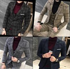 Mens Wool Blend Tweed Tartan Suit 3 Pieces Jacket Blazer Waistcoat Trousers UK