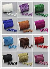 """wholesale 5-100yds 3/8""""10mm Sparkle Glitter Velvet Ribbon Headband 14 COLOR PICK"""
