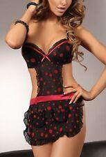 LivCo Larisa Sexy Schütze Hausfrau Kostüm String Schwarz Rot Push Up S M L XL