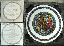 "NOEL VITRAIL ""NO ROOM AT THE INN"" 8 1/2"" PLATE W/COA D'ARCEAU-LIMOGES 1977"
