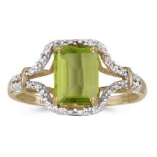 14k Yellow Gold Emerald-cut Peridot And Diamond Ring