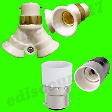 CE CERTIFIED B22 to 2x E14 OR B22 to E14 Adaptor Splitter Lamp Holder UK STOCK