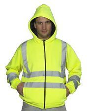 Nuevo Hi High Viz Chaleco con capucha y cremallera con capucha chaqueta superior trabajo EN471 Amarillo S-3XL