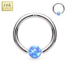 Piercing anillo oculta de oro blanco 14 quilates para la nariz oreja ópalo azul
