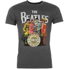 Para hombres Camisa Oficial Camiseta Camiseta Mangas Cortas Logotipo de música de los Beatles Gris