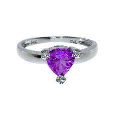 14k Amethyst Trillion Ring with Diamonds