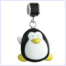 Sterling Silver Penguin Animal Enamel Dangle Bead f/ European Charm Bracelet