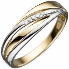 Damen Ring 585 Gold Gelbgold Weißgold bicolor 5 Diamanten Brillanten Goldring.