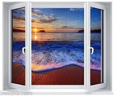 Sticker fenêtre trompe l'oeil coucher de soleil réf 5257