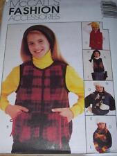 McCALL'S #8444-GIRLS GREAT FOR FLEECE VEST-MITTENS-HAT & HEADBAND PATTERN  S-Luc
