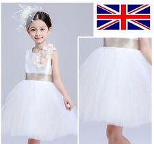 UK Stock White Flower Girls Lovely Bridesmaids Dress Formal Prom 3-9 Years XK01