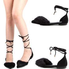 Black Pointy Toe Faux Fur Leg Wrap Lace Up Women Ballet Flat Ballerina Sandal US