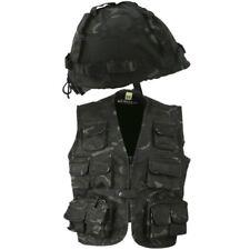 Boys Army Costume Tactical Vest & Helmet Outfit Kids 3-13 Yrs Sas Black Camo