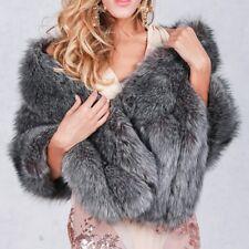 Luxury Women Fox Fur Coat Lady Warm Long Shawl Stole Wrap Shrug Scarf Cocktail