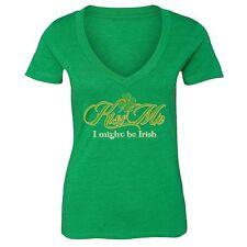 St Patrick Day shirt Shamrock Clover Irish Women V-neck T-Shirt Tee Green 2