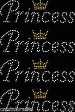 4x Principessa Corona di piccole dimensioni Ferro Su Strass Cristallo Trasferimento T-SHIRT CON APPLIQUE
