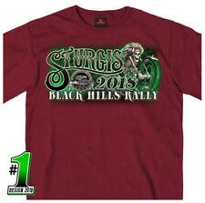 2018 Sturgis Motorcycle Rally Skeleton Rider Maroon T-Shirt #1689