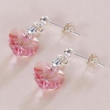 Corazón de Cristal & Pendientes plata, rosa, lila, Emerald, zafiro, granate,