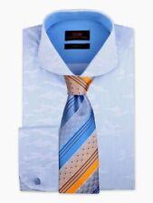 Dress Shirt by Steven Land Cutaway Collar French Cuff-Blue-TA1844-BL