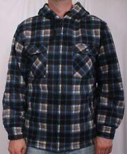 Blue and Cream Men Plaid Zip Up Hoodie Jacket W/ Pocket Size S M L XL XXL