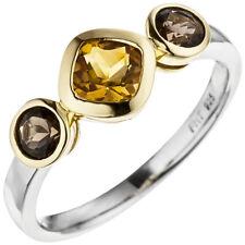Ring gelber Citrin zwischen Rauchquarzen 925 Silber Gelbgold vergoldet bicolor