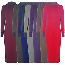 New Womens Long Sleeve Peter Pan Collar Long Bodycon Midi Dress 8-22