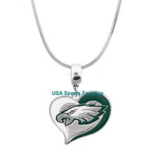 NFL - Philadelphia Eagles Heart Swirl Logo Pendant Necklace On A 925 Snake Chain