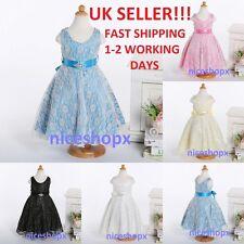 GIRLS Flower Lace Formal Wedding Bridesmaid Party Princess Christening Dress(57)