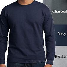 Mens T Shirts Long sleeve Crew Neck Tee Plain Colors Cotton Adult Big & Tall