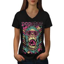 Wellcoda Popstar Funky Fashion Womens V-Neck T-shirt, Swag Graphic Design Tee